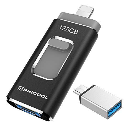USB Stick Handy 128GB USB 3.0 Speicherstick PHICOOL Externer Speicher Speichererweiterung für IOS 8.0+ System/OTG Android/USB C Android-Gerät/PC Tablet Wie iPhone Samsung Huawei -- Schwarz