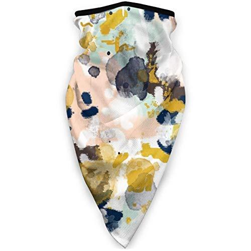 July Winddicht masker, abstract schilderen, marineblauw, munt, goud, wit en turquoise, multifunctionele sjaal