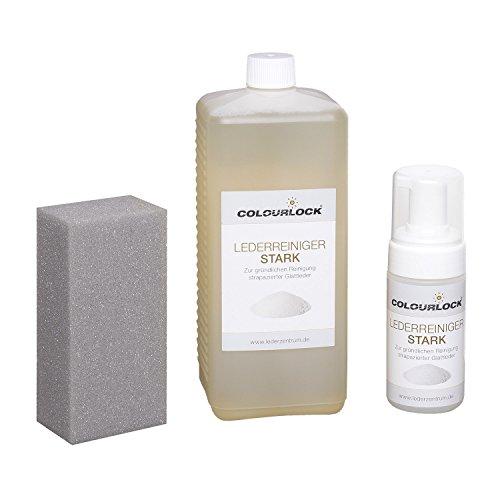 COLOURLOCK Lederreiniger stark 1 Liter inkl. 125-ml-Schaumspenderflasche und Reinigungsschwamm