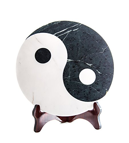 Ying Yang/Yin-Yang Servierplatte Dekoplatte aus Marmor, Marmorplatte Yin Yang, Feng Shui, Maße Ø/H: 30/1,5 cm Gewicht: ca. 4,5kg