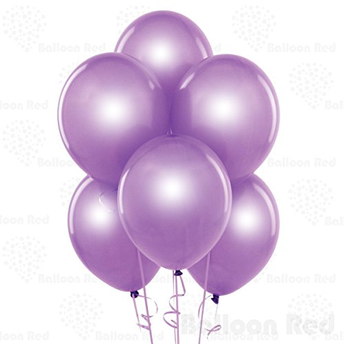 Pearl Lavender 12 Inch Pearlescent Thickened Latex Balloons, Pack of 100, Pearlized Premium Helium Quality for Wedding Bridal Baby Shower Birthday Party Decorations Supplies Ballon Baloon Thinken