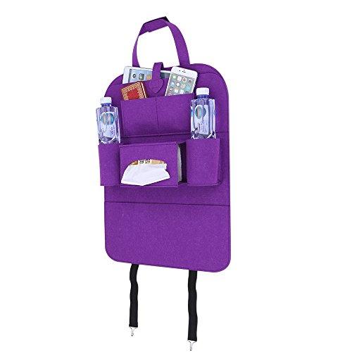 Bolsa de almacenamiento para el asiento del coche, bolsa de fieltro, bolsa de fieltro versátil con riñonera, color morado