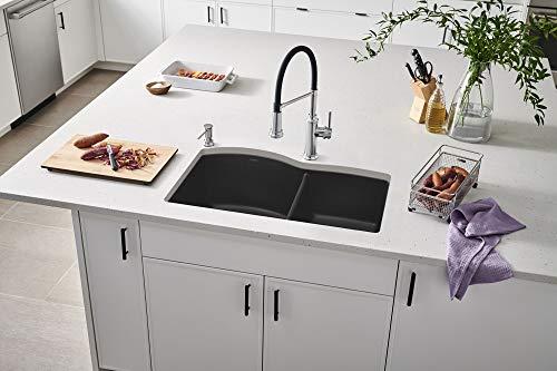 "BLANCO, Anthracite 440179 DIAMOND SILGRANIT 60/40 Double Bowl Undermount Kitchen Sink, 32"" X 21"""