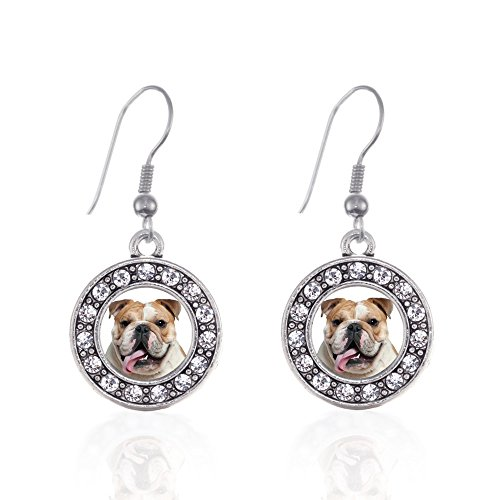 Inspired Silver - Bulldog Face Charm Earrings for Women - Silver Circle Charm French Hook Drop Earrings with Cubic Zirconia Jewelry