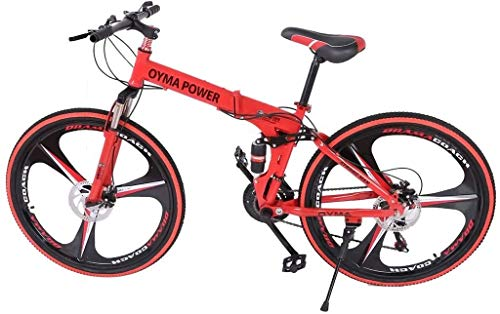 Folding Mountain Bike 26in 21 Speed Bicycle Full Suspension MTB Bikes (Red)