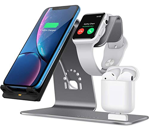 Charging Stand for Apple Watch,Wireless Qi Fast Charging Station 3 in 1 Aluminum Charger Docks for iPhone X/8 Plus/XS MAX/XR Ipad AirPods Iwatch Series 4/3/2/1 and Samsung Note 8/S8/S9 Plus,Gray