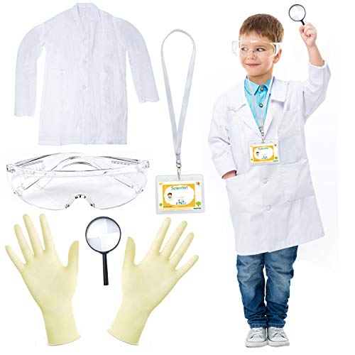 Beelittle Science Lab Kit for Kids Children's Scientist Lab Coat with Goggles ID Card Science Experiment Set for Scientist Costume Dress Up Role Play Laboratory Learning Toy for Age 3-10 (set B)
