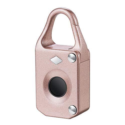 Smart Padlock Luggage Lock Electronic Intelligent Fingerprint Automatic Fingerprint Drawer Lock Kit Lock Fingerprint Padlock (Color : Pink, Size : One size)