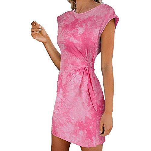 ZHIYA Dam batikfärgad klänning slips midja miniklänning ärmlös justerbar strandklänning sommarstrand gunga klänning topp rea