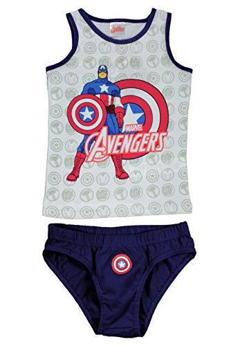 Marvels Avengers Kinder Jungen Unterwäsche-Set Unterhemd + Unterhose Weiß, Größe:116-122