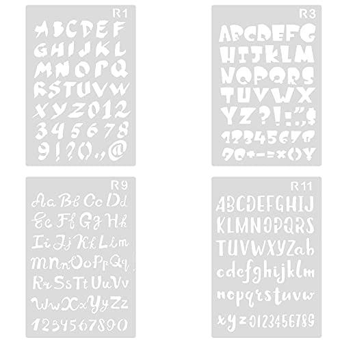 4 Stück Buchstaben Schablone, Bullet Journal Zeichnung Schablone Wiederverwendbare Kunststoff Template Alphabet Stencil für DIY Notizbuch Fotoalbum Sammelalbum