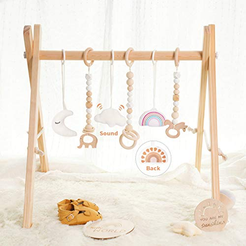 little dove Wooden Baby Gym with 6 Toys Foldable Play Gym Frame Activity Gym Hanging Bar Baby Toy...