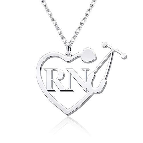 Collar de estetoscopio personalizado, colgante en forma de corazón personalizado con nombre, regalos de joyería para estudiantes de medicina y personal de enfermería