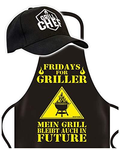 Schürze mit Cap - Fridays for Griller- Grillschürze mit Basket-Kappe - Lustiger Spruch - Grill Set für die nächste Gartenparty