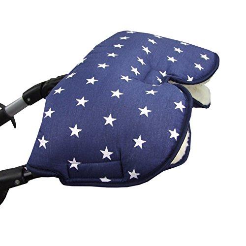 BAMBINIWELT Guantes calentadores de manos universales para cochecito, guantes para cochecito, de lana, algodón, diseño de estrellas azul oscuro, XX