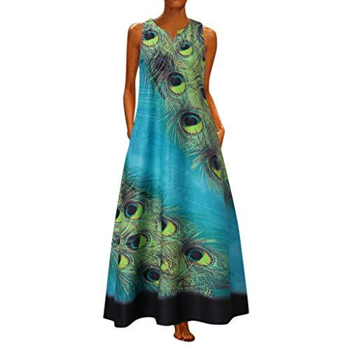 Komise ÄRmelloses Kleid Mit V-Ausschnitt Und Pfauenmuster Am Saum(Hellblau,L)