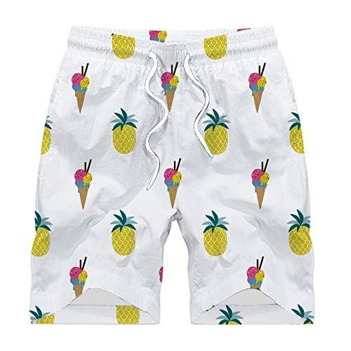 Ananas zwembroek voor heren, 3D-look, wit