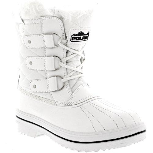 Holly Damen Schnee Stiefel Nylon Short Schnee Pelz Regen Wasserdicht Stiefel - Weiß - 38