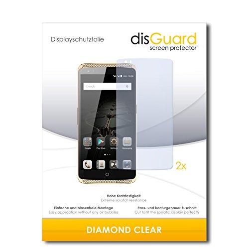 disGuard 2 x Bildschirmschutzfolie ZTE Axon Elite Schutzfolie Folie DiamondClear unsichtbar