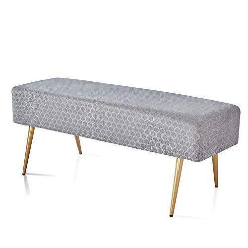 Cpintltr 457 Inches Velvet Bench Footstool Rectangular Bed End Stool with 4 Golden Metal Legs and Non-Slip Foot Pads Modern Entryway Bench for Living Room Grey