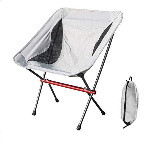 GLNuoke Silla plegable para acampar al aire libre, silla de pesca portátil de aleación de aluminio autoconductora luz trasera luna (color: A)