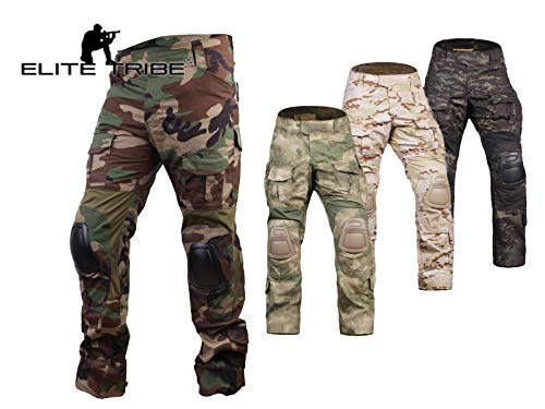 Elite Tribe Airsoft Hunting Tactical Pants Combat Gen3 Pants with Knee Pad (Woodland, M)