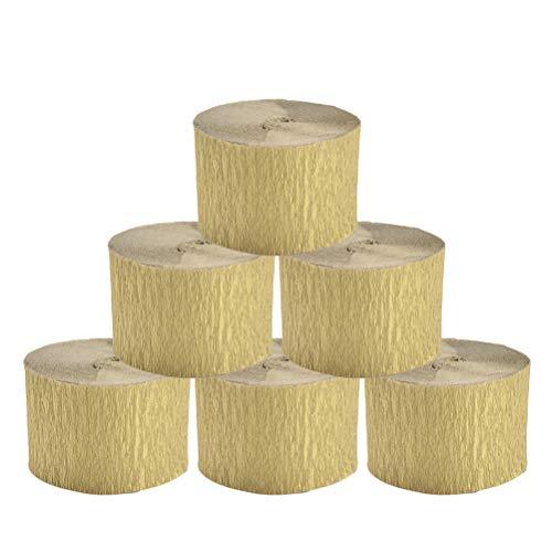 Supvox 10 stücke Krepppapier Dekorationen Krepppapierrolle Blume Machen Lieferungen für Geburtstagsfeier Hochzeit (Golden / 4,5x2500 cm)