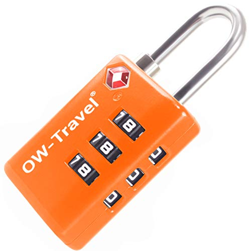 TSA Approved Luggage Locks Suitcase Locks with Open Alert (1 Pack) OW-Travel 3 Digit Security Padlock, Combination Padlocks, Code Lock for Zipper, Luggage, Bag, Case, Backpack, Gym Locker (Orange)