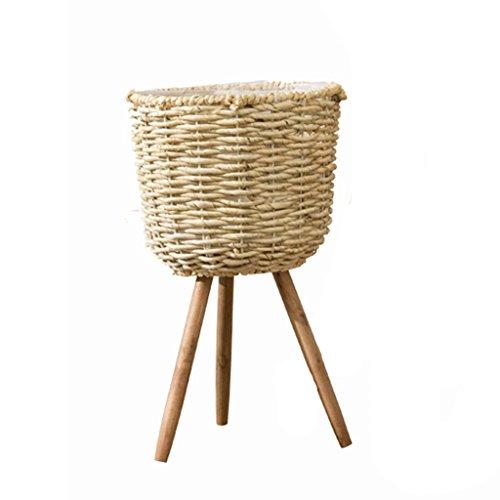 Étagères d'angle Supports de pots Support de fleur support de plancher créatif présentoir de panier tissé à la main arrangement de fleur de décoration de salon (Color : Beige, Size : 42 * 26cm)