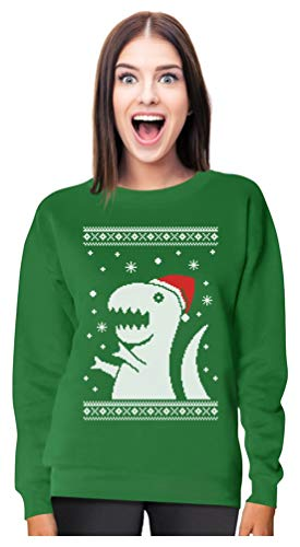 Big Trex Santa Ugly Christmas Sweater - Funny Xmas Women Sweatshirt Small Green