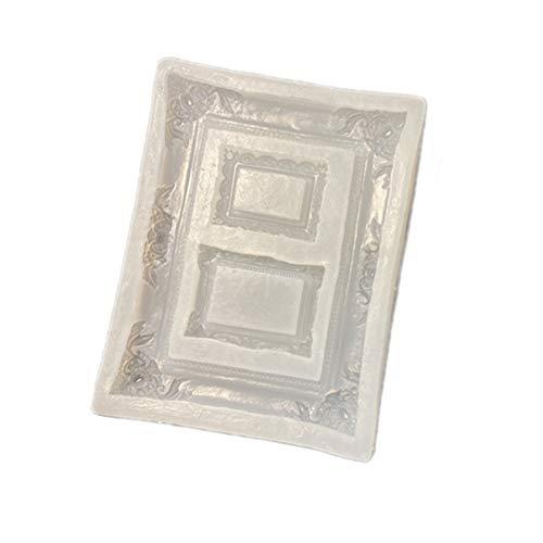 Molde de fundición de resina retro marco de fotos de silicona molde de decoración de la torta de molde de resina para decoración del hogar arte DIY