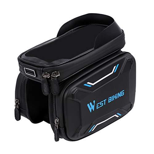 MagiDeal Sacoche Smartphone Rigide pour Cadre Vélo,Sac Sacoche Vélo Écran Tactil Guidon Cadre Téléphone en EVA - Bleu, 10x18x30cm