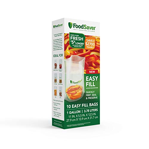 FoodSaver Easy Fill 1-Gallon Vacuum Sealer Bags | Commercial Grade and Reusable | 10 Count, 1 GALLON, Clear