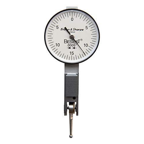 """Brown & Sharpe 599-7031-3 Dial Test Indicator Set, Top Mounted, M1.4x0.3 Thread, White Dial, 0-15-0 Reading, 1.5"""" Dial Dia., 0-0.03"""" Range, 0.0005"""" Graduation, +/-0.0005"""" Accuracy"""
