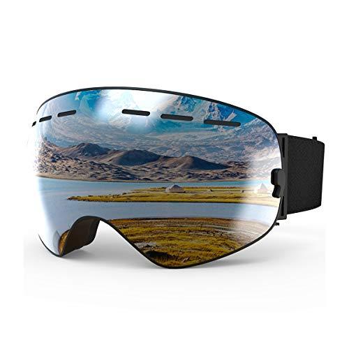 X-Tiger Skibril voor mannen en vrouwen, anti-condens, UV-bescherming, sferische Revo spiegellens met overbril, OTG voor skibrillen en snowboarden.