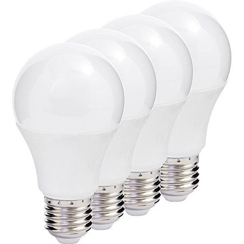 Müller-Licht 400010 A +, Lot de 4 Ampoule Led Poire remplace 60 W, Plastique, E27, Blanc, 6 x 6 x 10.9 cm