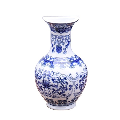 Yaochen Vaso pequeno de porcelana azul e branco, arranjo de flores, vaso de porcelana antigo, decoração de cerâmica, esmaltado, vasos de porcelana clássicos, vasos de flores de cerâmica para decoração de casa