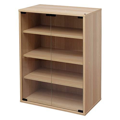 Marca Amazon - Iris Ohyama CGK-6035 - Mueble para muebles (4 estantes, puertas de cristal, madera MDF, madera de ingeniería, color marrón, roble claro)