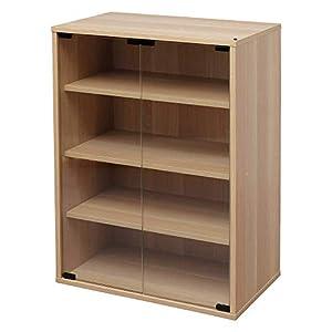 Iris Ohyama, Vitrina de 4 estantes, Unidad de almacenamiento con puertas de vidrio en madera MDF - Module Furniture CGK-6035 - Roble claro, L59 x P35 x A83,6 cm
