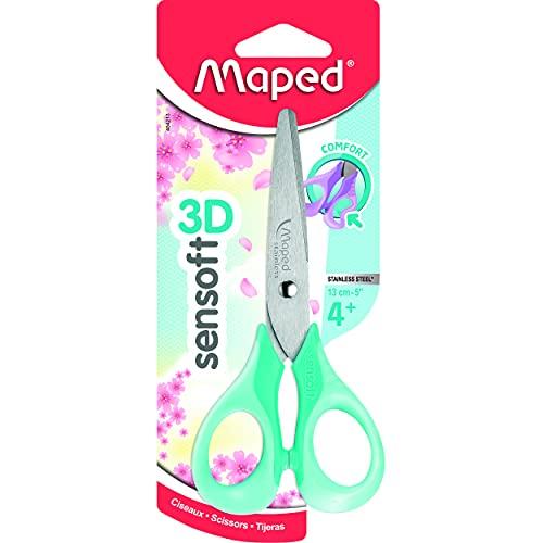 Maped - Ciseaux Sensoft 13 cm - Ciseaux Enfants avec Anneaux Souples et Ergonomie 3D - Ciseaux Scolaires dès 4 Ans - Pour Maternelle et Primaire - Coloris Pastel Aléatoire