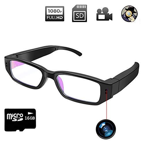 Telecamera Nascosta Bicchieri, Fotocamera Occhiali Spia, 1080P HD Microcamera Occultata Registrazione Video Scattare Foto con Scheda SD da 16GB