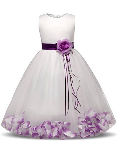 NNJXD Girl Flower Petal Bowknot Bautizo Vestido de Fiesta de la Dama de Honor de la Boda Talla (150) 7-8 Años Púrpura