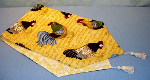 Reversible French Chickens on Yellow Table Runner with Tassels handmade by Jane Ellen