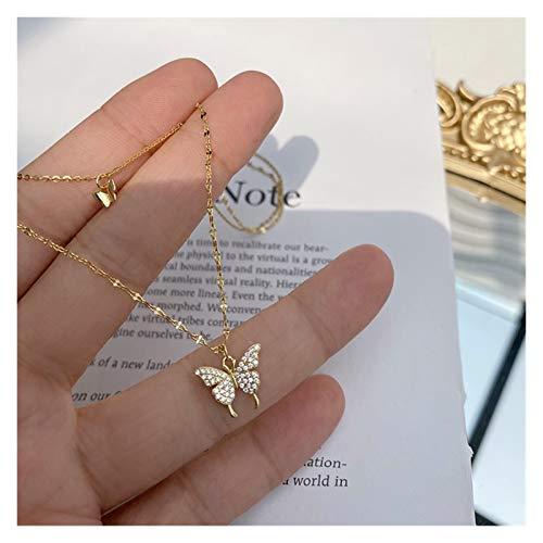 YHshop Collares y Pendientes 925 Collar de Mariposa Brillante de Plata esterlina para Mujeres Joyas de Cadena de clavícula de Doble Capa Collares Pendientes (Gem Color : B)