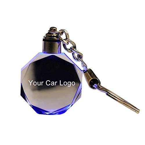 NGHXZ Schlüsselbund Anhänger Mode Bunte LED-Licht beleuchtet Schlüsselring geschnitten Glas Schlüsselbund Auto Logo Schlüsselring Schlüsselanhänger Schlüsselhalter für Audi VW Benz Ford BMW, für