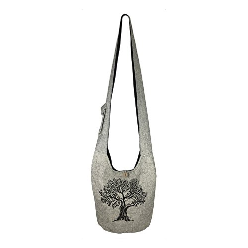 Fair Trade Large Sling Crossbody Shoulder Bag Purse Hippie Hobo Gypsy Bohemian, Grey Tree