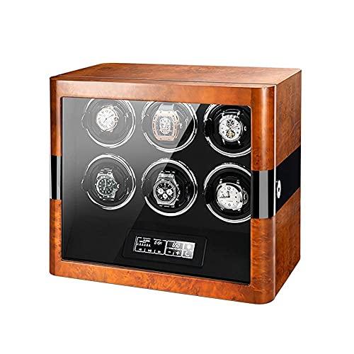 Caja enrolladora automática para 6 Relojes, Pantalla LCD táctil y Control Remoto,5 Modos de rotación Luz LED incorporada