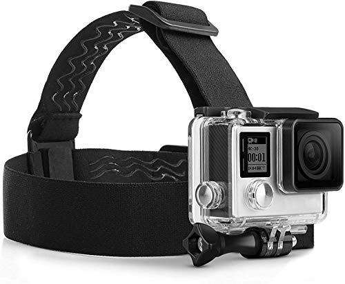 MyGadget Action Kamera Zubehör Kopfband Kopfhalterung mit J-Hook Adapter - Actioncam Kopfgurt Sport & Outdoor für z.B. GoPro Hero Black 7/8 6 5 4 3+, Xiaomi Yi 4K