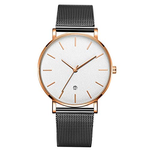 GJHBFUK Reloj Moda Redondo Marcador De Pulsera De Cuarzo (cinturón Negro Caja De Oro Rosa Espejo Blanco Oro Rosa Aguja De Oro)