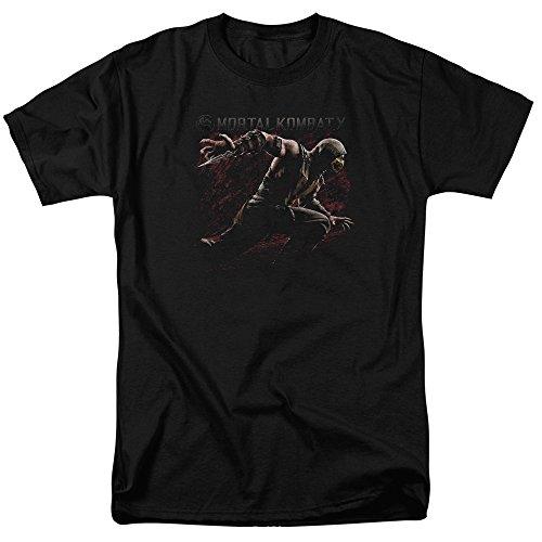 Trevco Men's Mortal Kombat X Short Sleeve T-Shirt, Scorpion Black, Large